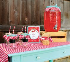 Darling Cherry On Top Party {Red Gingham & Teal}cool for sangria