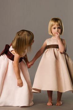 Ball gown sleeveless satin dress for flower girl