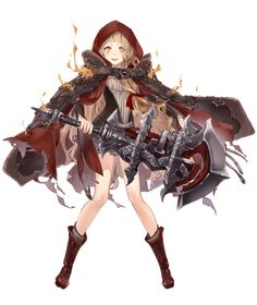 View an image titled 'Red Riding Hood, Crusher Job Art' in our SINoALICE art gallery featuring official character designs, concept art, and promo pictures. Female Character Design, Character Design References, Game Character, Character Concept, Anime Art Girl, Manga Art, Anime Manga, Fantasy Characters, Female Characters