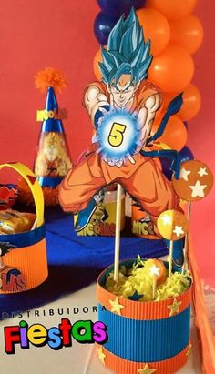 Explore the best ideas to celebrate a Dragon ball z Party using lots of Drogan ball Z birthday crafts to help you give a unique decoration style. Goku Birthday, Dragon Birthday, Dragon Party, Man Birthday, Ball Birthday Parties, Super Party, Birthday Decorations, First Birthdays, Party Themes