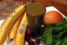 1 Mango 1 Banana 1 cup Spinach 1/2 cup Blackberries 8 ounces filtered water
