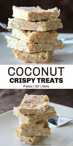 Keto Coconut Crispy Treats These no-bake coconut crispy treats are a healthy snack for both kids and adults and are made with shredded coconut, coconut oil, maple syrup, and sea salt. Keto Desserts, Coconut Desserts, Paleo Dessert, Easy Desserts, Dessert Recipes, Vegan Rice Crispy Treats, Chocolate Rice Crispy Treats, Rice Krispy Treats Recipe, Healthy Treats