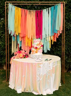 Let's Flamingle! An Elegant + Colorful Palm Springs Wedding - Green Wedding Shoes Church Aisle Decorations, Birthday Decorations, Diy Birthday Backdrop, Bohemian Party Decorations, Ribbon Decorations, Grad Parties, Birthday Parties, Lego Parties, Bachelor Parties