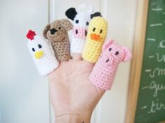 Pattern here:  http://www.crochetpatterncentral.com/patterns/farmyard_finger_puppets.php