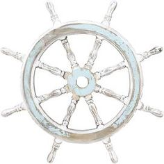 """Bring breezy appeal to your home décor  with this lovely accent, artfully crafted for chic, beach cottage-worthy style.   Product: Wheel décorConstruction Material: Quality wood Color: Pale blueFeatures: Nautical stylingDimensions: 24"""" DiameterNote: Not recommended for outdoor use"""