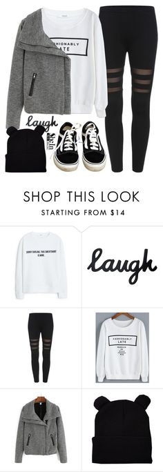 """Black Cat"" by alexandra-provenzano ❤ liked on Polyvore featuring MANGO and Vans"