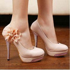 Round Toe Floral Sparkle Decoration Beige Stiletto High Heels