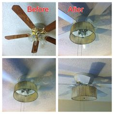 """DIY ceiling fan update with barrel shade  Removed blades, spray painted with white Valspar paint. Hand painted everything else with white Rustoleum. Splurged on vintage fiberglass shade on EBay, attached it upside down with 6"""" bolt through center of light kit. Total cost was about $15 plus shade.  Thks to blogs from thriftydecorchick and Debbie-debbiedoos."""