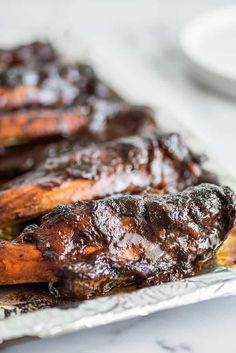 These Slow Cooker Beef Ribs are fall-apart tender, incredibly easy to make, and take only 5 to 10 minutes of prep time. Beef Ribs Crockpot Slow Cooker, Baked Beef Ribs, Beef Ribs Recipe, Pork Ribs, Crockpot Meals, Bbq Beef Short Ribs, Beef Back Ribs, Barbecue Ribs, Rib Recipes