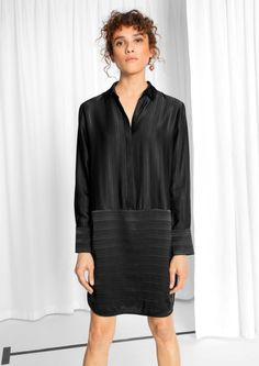 & Other Stories Oversized Satin Shirt Dress in Black