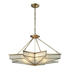 Elk Lighting Decostar 8-light Brushed Brass Pendant  ITEM#: 16662382 This pendant emanates an exciting star-shaped pattern with a timeless style that is sure to fit into any room. The design features sharp, dramatic angles made of frosted glass held by a solid brushed brass frame.      Setting: Indoor     Fixture finish: Brushed brass     Number of lights: Eight (8)     Requires eight (8) 60-watt bulbs     Line switch     Dimensions: 43 inches wide x 23 inches high