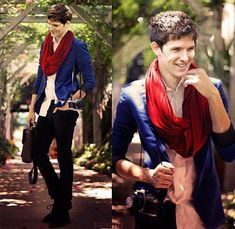 Colin Morgan . . . I love how in this picture, he's not Merlin . . . but he's still dressed just like him :D