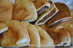 Ara'yes عرايس باللحمة:) These grilled pita bread crispy sandwiches that are stuffed with minced meat are very easy to prepare and are a great crowd pleaser. http://www.dish-away.com/2012/06/arayes-recipe.html