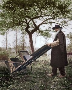 Camille Pissarro with his mobile easel, c.1895