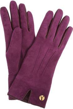 Yves Saint Laurent|Chyc cashmere-lined suede gloves|NET-A-PORTER.COM