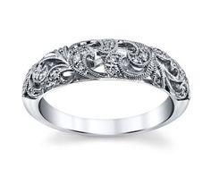 Peter Lam 14K White Gold Diamond Wedding Ring 1/10 Cttw.