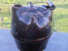 Antique Brown Glaze Stoneware Syrup Jug by LeftoverStuff on Etsy, $155.00