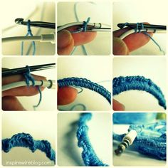 DIY how to crochet yarn around the wires of your earbuds to keep them from getting tangled.