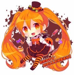 HAPPY HALLOWEEN~~★ anime art. . .halloween costume. . .chibi. . .twin tails. . .mini top hat. . .ribbons. . .striped socks. . .jack o lantern. . .pumpkins. . .candy. . .sweets. . .bat wings. . .fangs. . .cute. . .kawaii