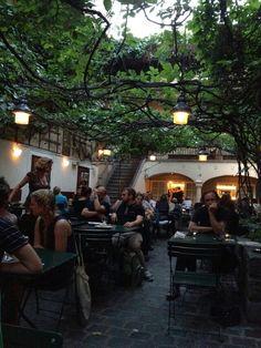 Vienna, Heurigen Tavern - pork knuckles, sausages, local wine and beer! Just relax with a good glass of wine #austria #vienna #austriantime