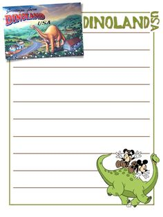 """Dinoland USA - Postcard and Mickey & Minnie on dinosaur - Animal Kingdom - Project Life Journal Card - Scrapbooking. ~~~~~~~~~ Size: 3x4"""" @ 300 dpi. This card is **Personal use only - NOT for sale/resale** Clipart/Logo/Postcard belong to Disney. Font is Erasaur www.dafont.com/erasaur.font ***Click through to photobucket for more versions of this card :) ***"""
