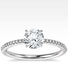 Petite Micropave Diamond Engagement Ring in 14k White Gold | Blue Nile