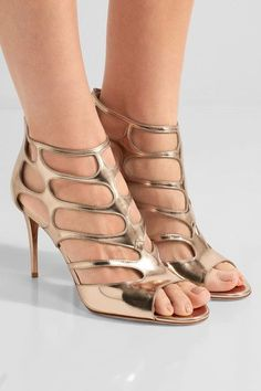 Jimmy Choo - Ren Cutout Mirrored-leather Sandals - Gold