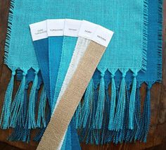 Set of TWO Blue Burlap Runners  Coastal Style  Aqua