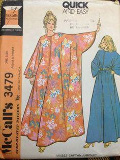 Vintage 1970's McCall's 3479 Misses' Caftan Jumpsuit Pattern // One Size FF NOS