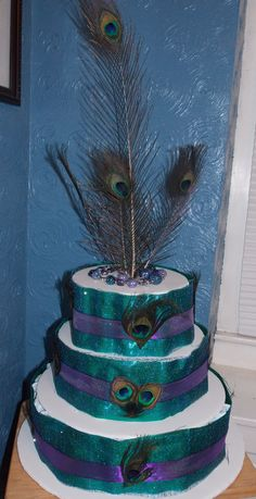 Peacock Diaper cake made for sister in law 's   Baby shower.