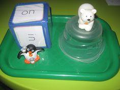 Luvin' my Bug: Tot School: Winter Theme week 3 - positional word game Speech Activities, Language Activities, Learning Activities, Therapy Activities, Preposition Activities, Maths Eyfs, Fun Learning, Preschool Literacy, Kindergarten Math