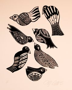 linocut Black Birds black and white birds by linocutheaven on Etsy