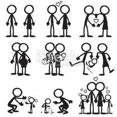 Stick figure Family Love Royalty Free Stock Vector Art Illustration
