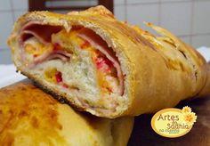 Artes da Sadhia na cozinha  : Pão recheado  com dois queijos e presunto ( dica p...