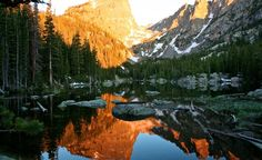 """""""Hallett's Peak in Rocky Mountain National Park reflecting in Dream Lake at sunrise."""" (From: 35 Spectacular Sunrises from Around the World)"""