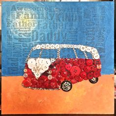 Fathers day gift Button Art VW Camper 12 x 12 Word Art Free UK Delivery!!