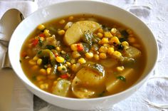 Roasted Poblano Soup with Potatoes and Corn