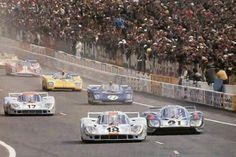 LM - The rolling start Vintage Racing, Vintage Cars, Vintage Auto, Real Racing, Auto Racing, Le Mans Series, 24h Le Mans, Porsche Cars, Sports Photos