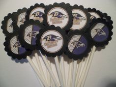 15 Baltimore Ravens  party cupcake toppers. $10.00, via Etsy.