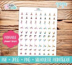 Yoga Brunette, Printable Planner Stickers. de PlanSoCute en Etsy
