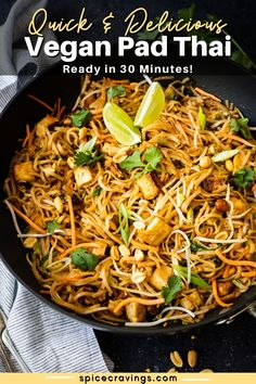 This gluten-free and Vegan Pad Thai is salty, sweet, sour, crunchy and creamy with thin rice noodles and extra crispy tofu ready in 30 minutes! Veggie Recipes Healthy, Tofu Recipes, Vegan Dinner Recipes, Noodle Recipes, Delicious Vegan Recipes, Vegetarian Meals, Vegetable Recipes, Pasta Recipes, Whole Food Recipes