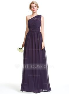[£93.00] A-Line/Princess One-Shoulder Floor-Length Chiffon Bridesmaid Dress With Ruffle
