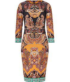 ETRO  Black/Sunflower-Multi Wool Dress