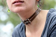 Leather choker  leather collar for women gothic choker