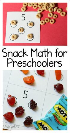 Math for preschoolers to play during snack time - includes free printable (sponsored by General Mills) Let kids use their snack time to explore early math concepts in an easy, fun way! Grab this snack math for preschoolers free printable. Preschool Prep, Preschool At Home, Preschool Classroom, In Kindergarten, Preschool Printables, Preschool Ideas, Preschool Number Crafts, 3 Year Old Preschool, Preschool Schedule