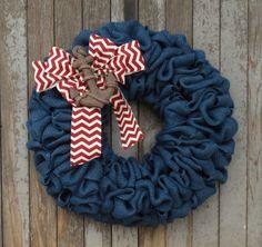 Navy Blue Nautical Wreath--Navy Blue Burlap Wreath--Nautical Anchor Wreath--Beach House Wreath--Nautical Burlap--Red, White, and Blue Wreath by WhimsyChicDesigns on Etsy https://www.etsy.com/listing/234487006/navy-blue-nautical-wreath-navy-blue