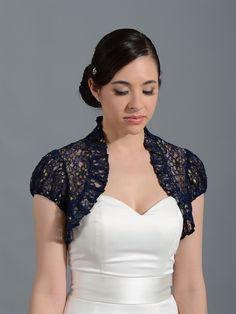 Navy Blue short sleeve corded lace wedding bolero jacket Lace_043