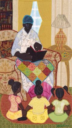 Grandma reading to her grandkids wrapped in her quilt..this reminds me of my gma...
