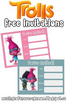 Trolls Movie free printable party invitations