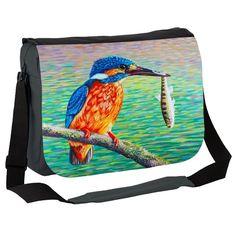 Birds Kingfisher and Fish Messenger Bag by simon-knott-fine-artist at zippi.co.uk